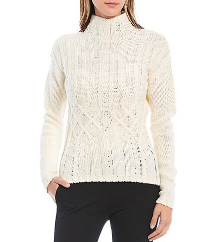 Donna Karan Embellished Cable Knit Mock Neck Wool Blend Sweater