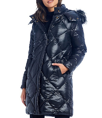 Donna Karan Faux Fur Trim Hooded Down Puffer Coat