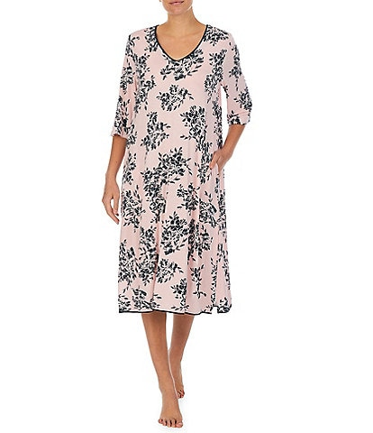 Donna Karan Floral Print Jersey Knit Short V Neck 3/4 Sleeve Nightgown