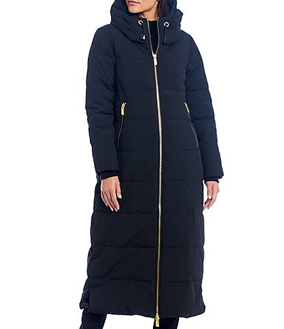 Donna Karan Hooded Zip Front Long Puffer Coat