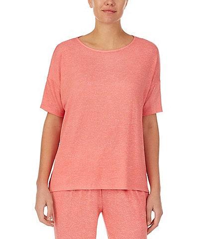 Donna Karan Marled Knit Short Sleeve Round Neck Coordinating Sleep Top