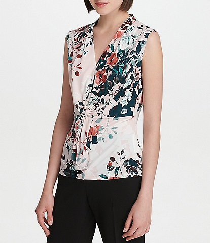 Donna Karan New York Floral Print Matte Jersey V-Neck Knot Front Shell