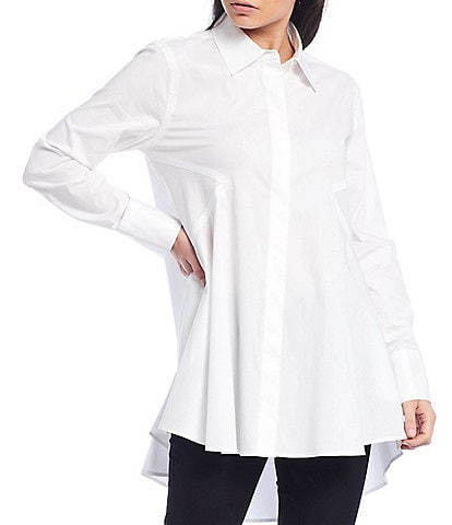 Donna Karan New York Iconic Signature Hi-Low Button Front Shirt