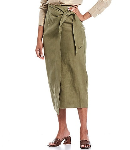 Donna Karan New York Linen Pencil Wrap Skirt