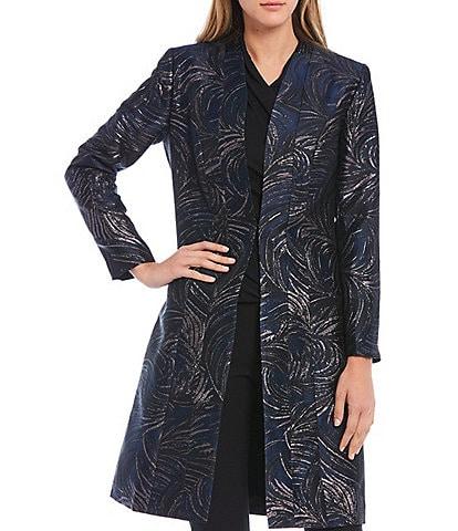 Donna Karan New York Long Sleeve Deco Plume Metallic Jacquard Open Front Jacket