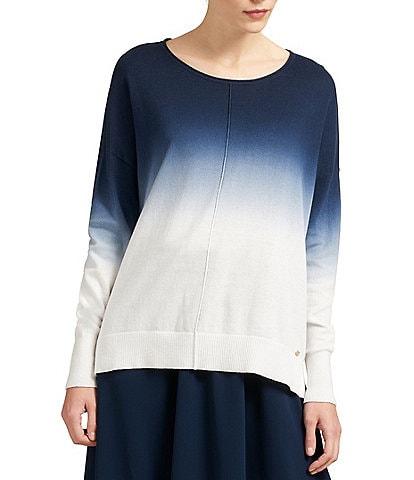 Donna Karan New York Long Sleeve Dip-Dye Sweater