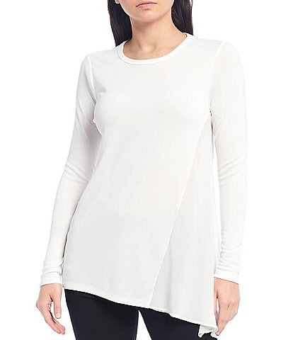 Donna Karan New York Long Sleeve Mixed Media Asymmetric Hem Top