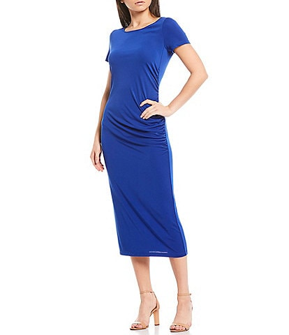 Donna Karan New York Matte Jersey Side Ruched Short Sleeve Midi Sheath Dress