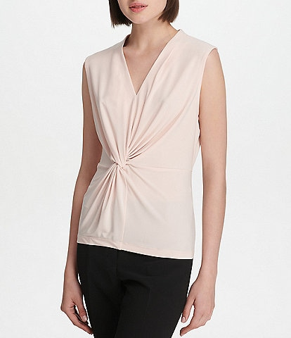 Donna Karan New York Matte Jersey V-Neck Knot Front Shell