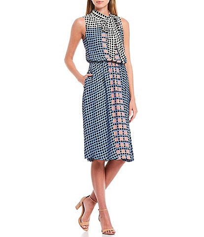 Donna Karan New York Multi Grid Print Sleeveless Tie Neck Blouson Georgette Dress