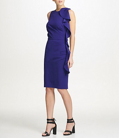 Donna Karan New York Ruffle Ruched Scuba Crepe Sheath Dress