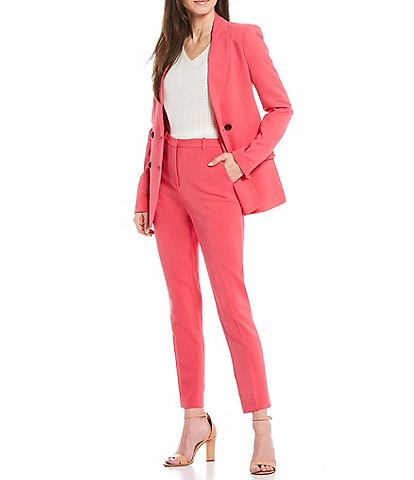 Donna Karan New York Signature Double Breasted Ponte Stretch Blazer & Straight Leg Ankle Pants