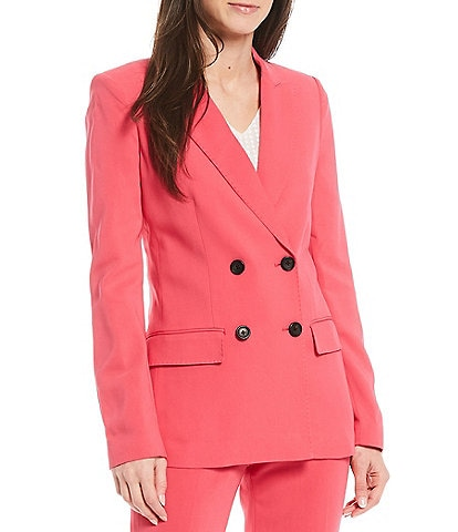 Donna Karan New York Signature Double Breasted Ponte Stretch Blazer