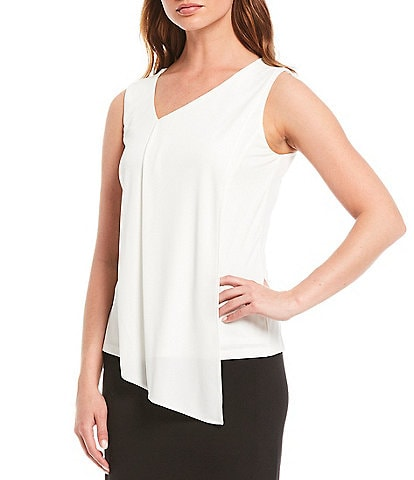 Donna Karan New York Sleeveless Front Drape V-Neck Shell