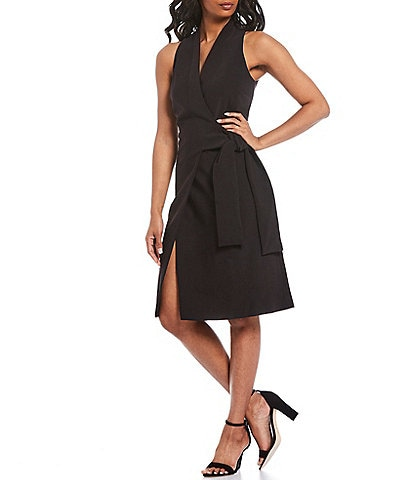 Donna Karan New York Sleeveless Tie Waist Wrap Dress