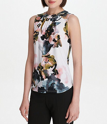 Donna Karan New York Smudged Peony Floral Print Matte Jersey Top