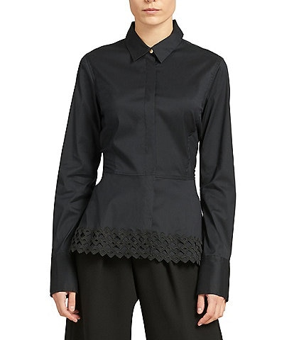 Donna Karan New York Stretch Poplin Lace Trim Peplum Top