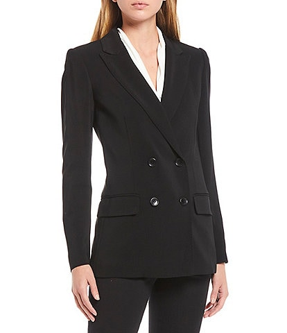 Donna Karan New York Stretch Viscose Double Breasted Peak Lapel Blazer