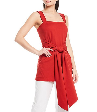 Donna Karan New York Tie Waist Square Neck Sleeveless Ponte Tank