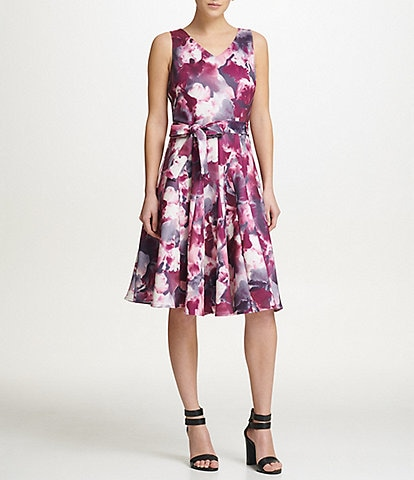 Donna Karan New York Abstract Print Belted V-Neck Scuba A-Line Dress