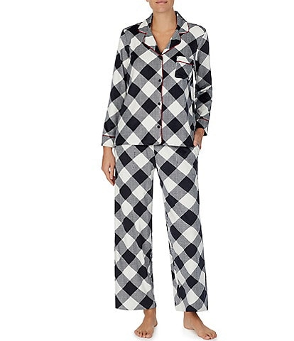 Donna Karan Plaid Print Stretch Velour Pajama Set