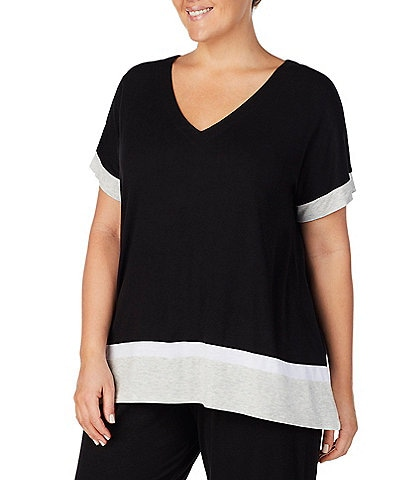Donna Karan Plus Color Block Jersey Knit Sleep Top
