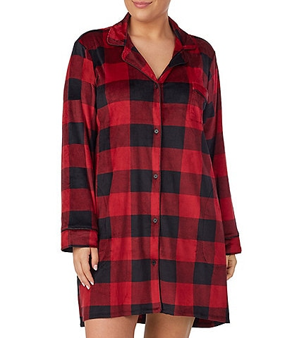 Donna Karan Plus Plaid Print Velour Sleep Shirt