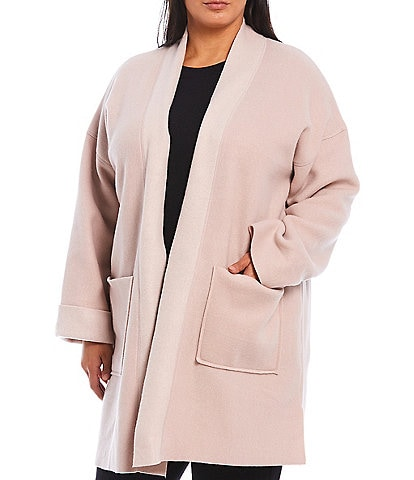 Donna Karan Plus Two-Tone Fleece Long Sleeve Patch Pocket Lounge Jacket
