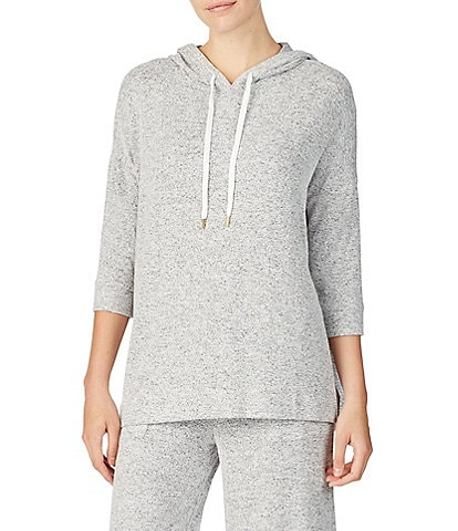 Donna Karan Revive Marled Brushed Jersey Hoodie Lounge Top