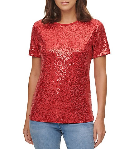 DKNY Sequined Knit Jersey Crew Neck Short Sleeve Top