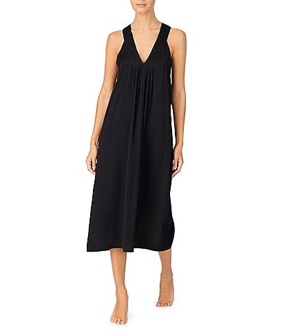 Donna Karan Sleepwear Solid Woven Pleated V Neck Long Chemise With Pockets