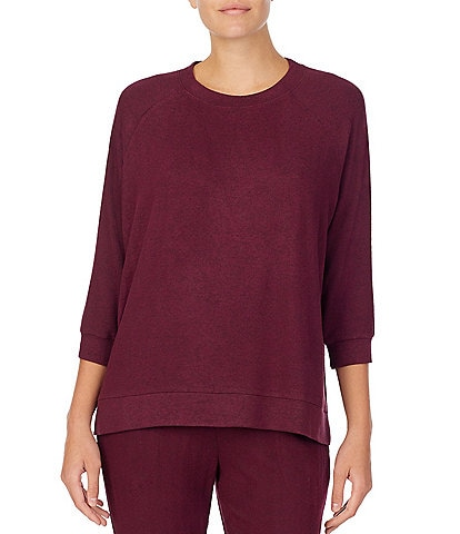 Donna Karan Solid Brushed Sweater Knit Top