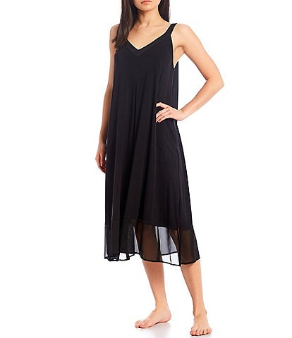 Donna Karan Solid Jersey Knit Sleeveless V-Neck Nightgown
