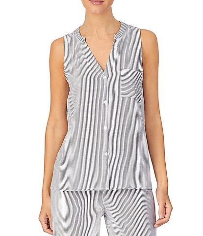 Donna Karan Sleepwear Striped Sleeveless Sleep Tank