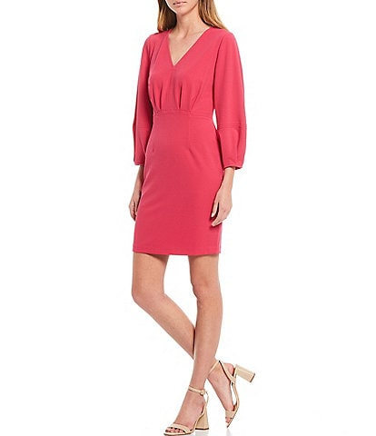 Donna Morgan 3/4 Blouson Sleeve V-Neck Crepe Sheath Dress