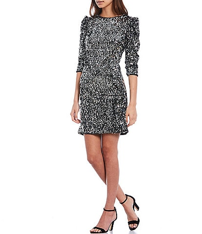 Donna Morgan 3/4 Puff Sleeve Velvet Allover Sequin Sheath Dress
