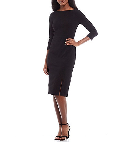 Donna Morgan Boat Neck 3/4 Sleeve Crepe Sheath Dress