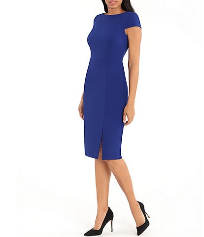 Donna Morgan Boat Neck Cap Sleeve Knitted Crepe Sheath Dress