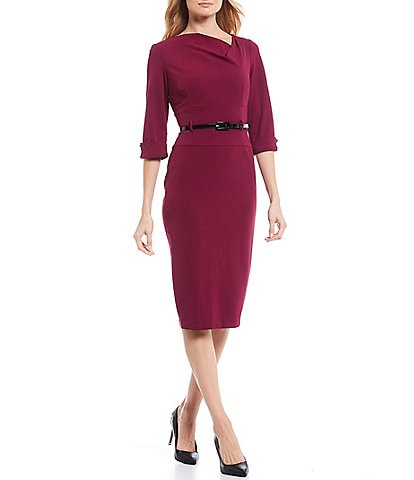 Donna Morgan Cowl Neck Belted Stretch Crepe Midi Dress