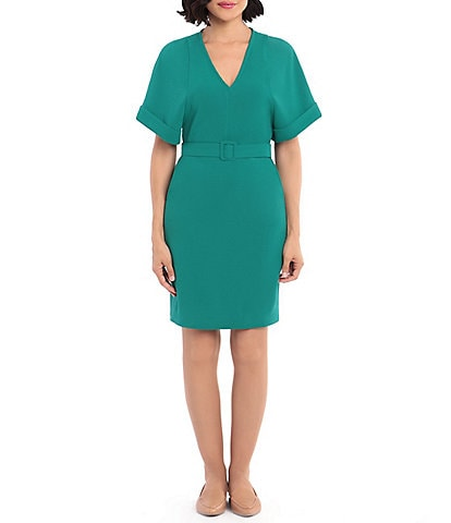 Donna Morgan Cuff Sleeve Knitted Crepe Sheath Dress