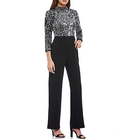 Donna Morgan Cutout Back Mixed Media 3/4 Sleeve Sequined Crepe Jumpsuit