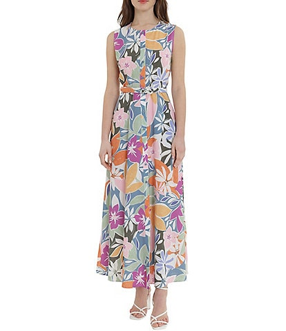 Donna Morgan Floral Belted Maxi Ankle Length Dress