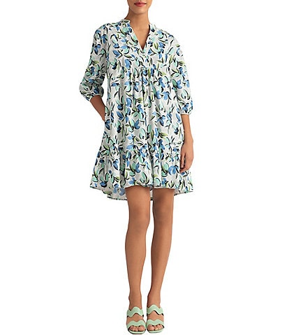 Donna Morgan Floral Cotton Trapeze Dress