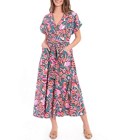 Donna Morgan Floral Faux Wrap V-Neck Midi Cotton Dress