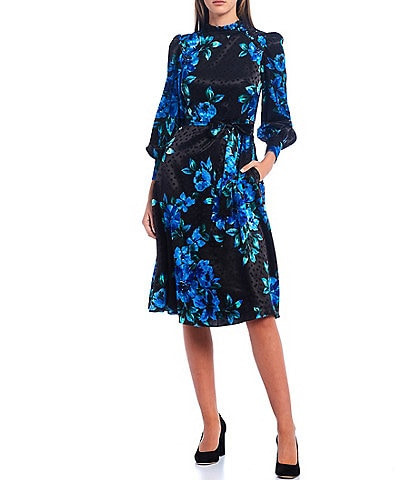 Donna Morgan Floral Printed Silky Dot Jacquard Mock Neck Long Sleeve Midi Dress