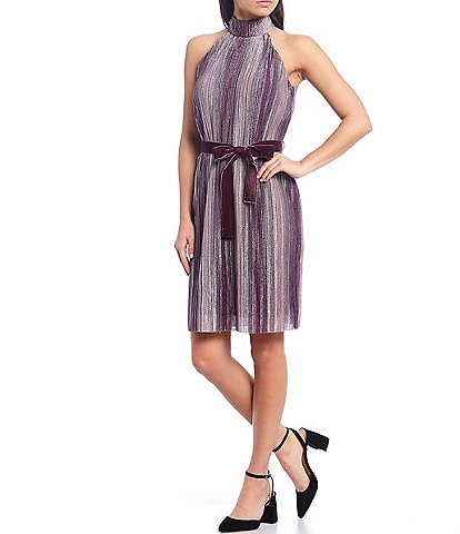 Donna Morgan Halter Neck Pleated Ombre Knit Ribbon Belt Detail Shift Dress