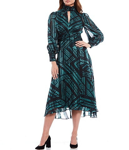 Donna Morgan Keyhole Mock Neck Abstract Plaid Shadow Stripe Print Long Sleeve Midi Dress