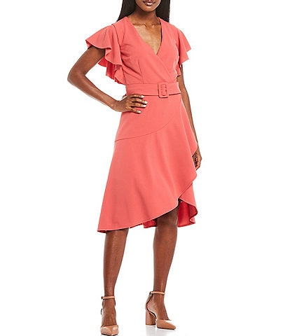 Donna Morgan Knitted Crepe Asymmetrical Ruffle Dress