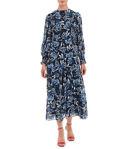 Donna Morgan Long Sleeve Floral Crepe Tiered Crew Neck Midi Dress