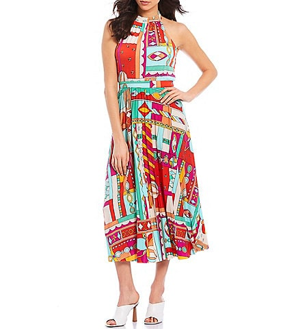 Donna Morgan Maisie Mock Neck Sleeveless Printed Jersey Midi Dress
